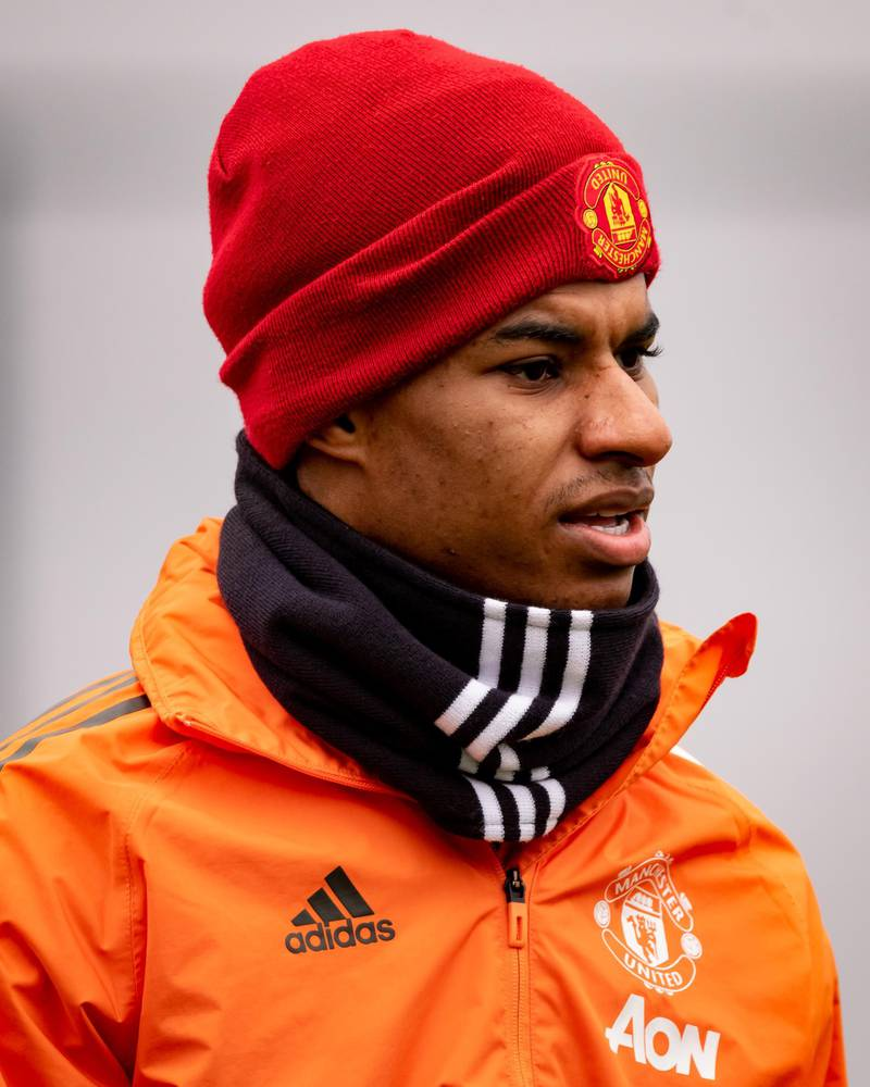 MANCHESTER, ENGLAND - MARCH 16: (EXCLUSIVE COVERAGE) Marcus Rashford of Manchester United in action during a first team training session at Aon Training Complex on March 16, 2021 in Manchester, England. (Photo by Ash Donelon/Manchester United via Getty Images)