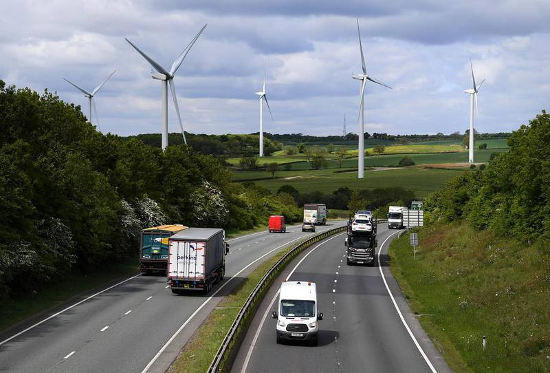 KELMARSH, ENGLAND - MAY 13:  Traffic on the A14 this morning as some lockdown restrictions are lifted on May 13, 2020 in Kelmarsh, Engalnd. The prime minister announced the general contours of a phased exit from the current lockdown, adopted nearly two months ago in an effort curb the spread of Covid-19. (Photo by Clive Mason/Getty Images)