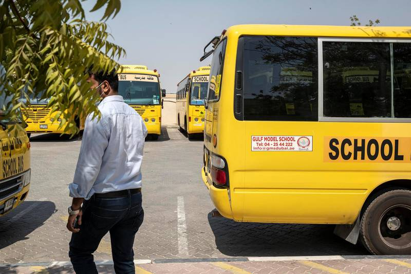 DUBAI, UNITED ARAB EMIRATES. 08 SEPTEMBER 2020.  Affordable schools in Dubai. The Gulf Model School where fees range from Dh350-Dh650 per month located in Al Muhaisinah 4. Social distancing has also been implemented on the school transport busses. (Photo: Antonie Robertson/The National) Journalist: Anam Rizvi. Section: National.