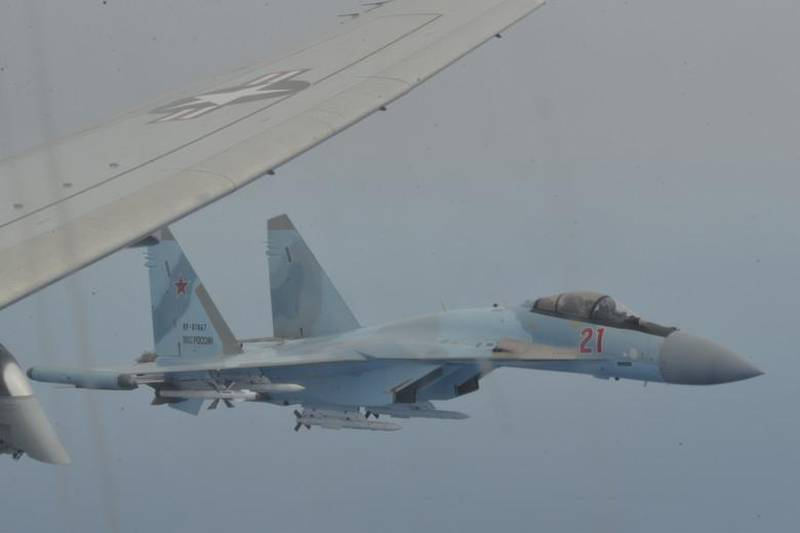 MEDITERRANEAN SEA (May 26, 2020) Two Russian Su-35 aircraft unsafely intercept a P-8A Poseidon patrol aircraft assigned to U.S. 6th Fleet over the Mediterranean Sea May 26, 2020. The intercept was determined to be unsafe and unprofessional due to the Russian pilots taking close station on each wing of the P-8A simultaneously, restricting the P-8A's ability to safely maneuver, and lasted a total of 64 minutes. U.S. 6th Fleet, headquartered in Naples, Italy, conducts the full spectrum of joint and naval operations, often in concert with allied and interagency partners, in order to advance U.S. national interests and security and stability in Europe and Africa. (U.S. Navy photo)
