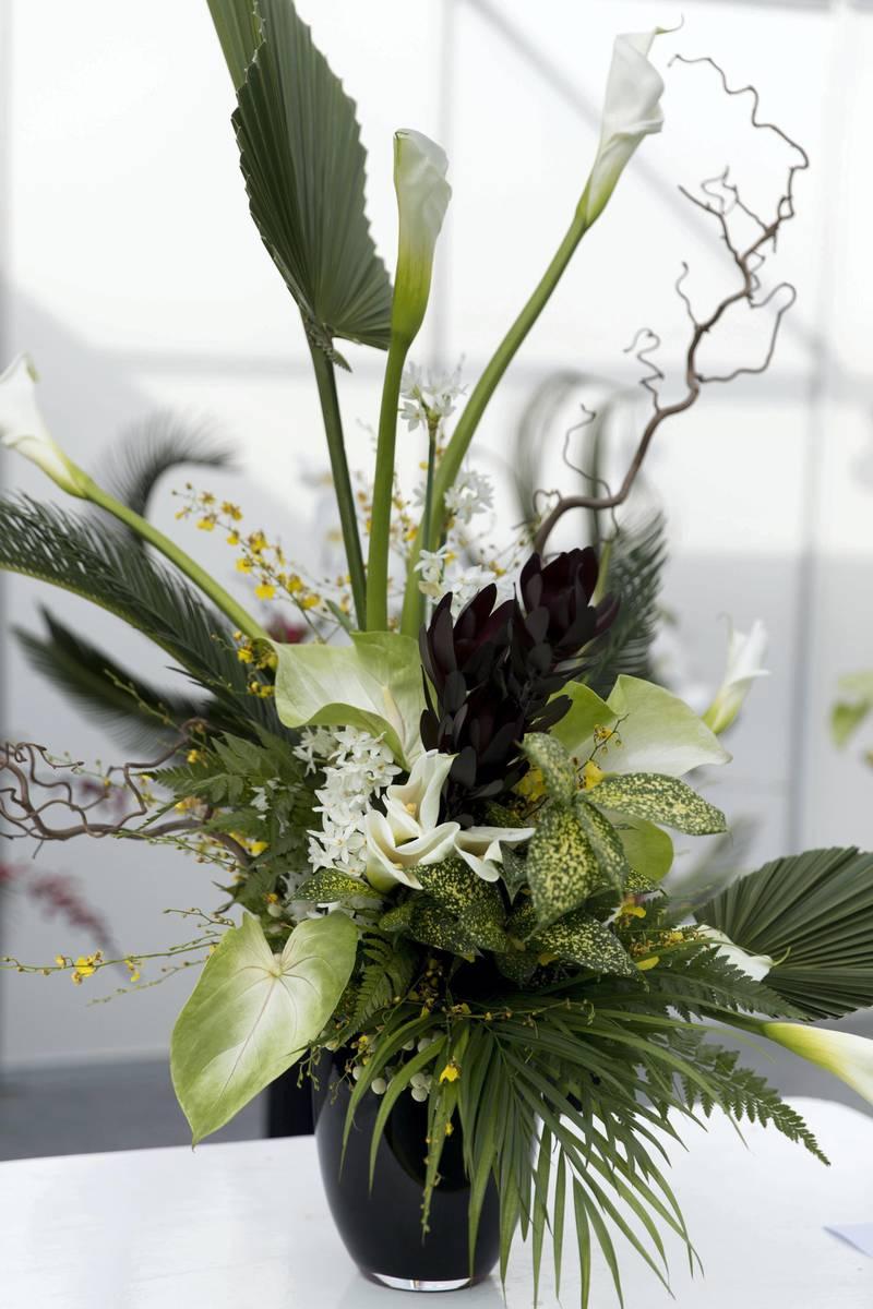 DUBAI, UNITED ARAB EMIRATES - Feb 22, 2018.Thai Thomas Mai Van, France, floral arrangements at Dubai International Flower Festival.(Photo: Reem Mohammed/ The National)Reporter: Melanie HuntSection: WK