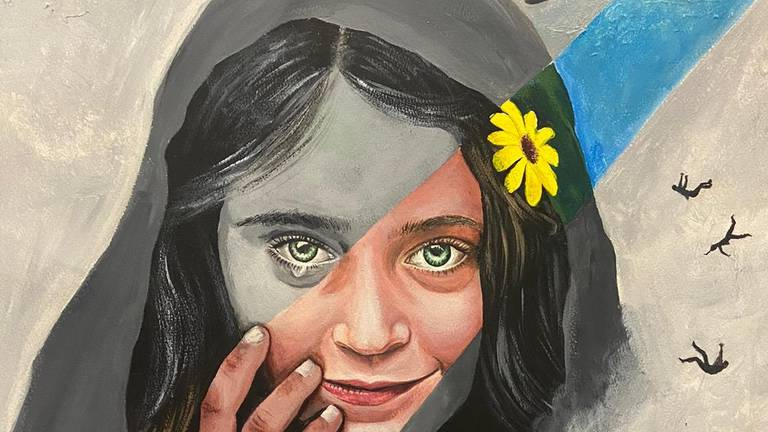 An image that illustrates this article Painter Sara Rahmani captures horror and hope in Afghanistan with moving works