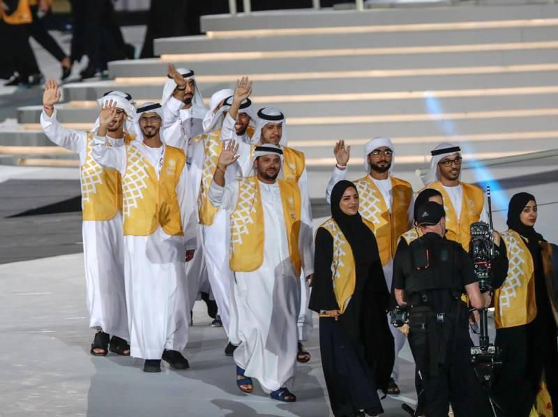 Abu Dhabi, March 21, 2019.  Special Olympics World Games Abu Dhabi 2019. Closing Ceremony. T. SHriver and Noura.Victor Besa/The National Victor Besa/The National