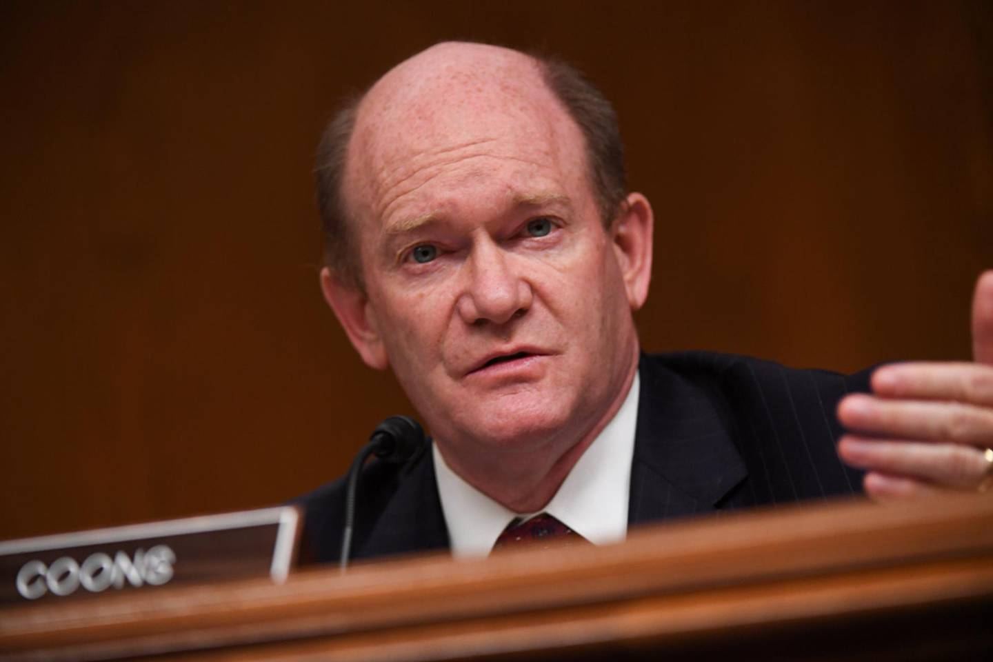 FILE PHOTO: Senator Chris Coons (D-DE) questions Ajit Pai, Chairman of the Federal Communications Commission, during an oversight hearing  on Capitol Hill in Washington, D.C., U.S., June 16, 2020. Toni Sandys/Pool via REUTERS/File Photo