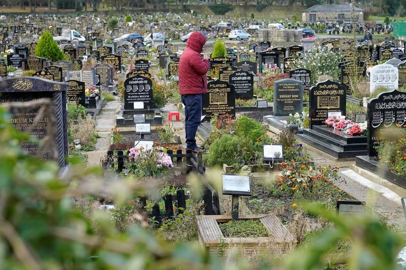 """BRADFORD, ENGLAND - NOVEMBER 16: A general view of the Scholemoor Cemetery and Crematorium on November 16, 2020 in Bradford, England. In an essay for the BBC this weekend, Dr John Wright of Bradford Royal Infirmary reported how Bradford's main Muslim cemetery has been struggling to keep up with burials amid the country's second wave of covid-19 infections. However he cautioned that """"it will take some medical detective work to determine the cause of this increase in deaths."""" (Photo by Christopher Furlong/Getty Images)"""