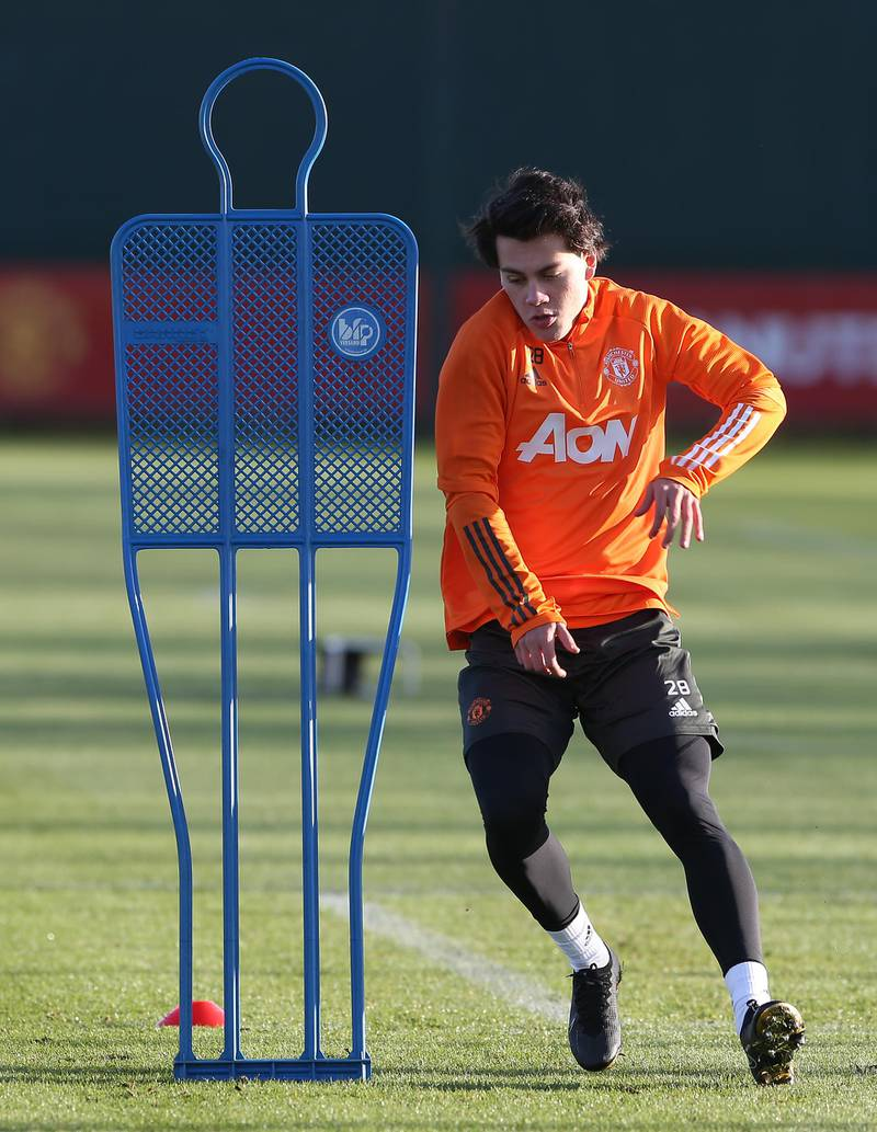 MANCHESTER, ENGLAND - DECEMBER 27: (EXCLUSIVE COVERAGE) Facundo Pellistri of Manchester United in action during a first team training session at Aon Training Complex on December 27, 2020 in Manchester, England. (Photo by Matthew Peters/Manchester United via Getty Images)