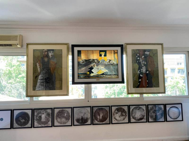 Artwork on display, including two pieces from Egyptian artist Adel El Siwi. Nada El Sawy / The National