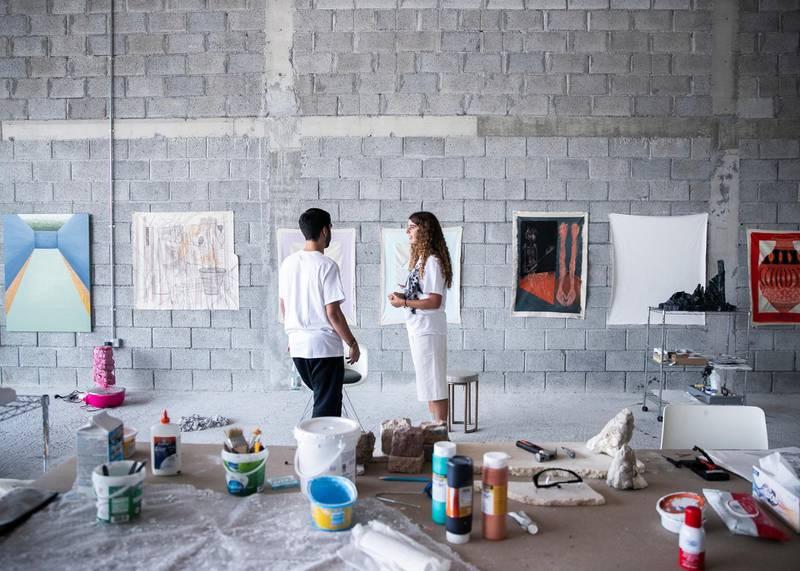 DUBAI, UNITED ARAB EMIRATES. 6 AUGUST 2020. Ziad Al Najjar and Moza Almazrouei in their studio in Galleria Mall, Al Barsha.(Photo: Reem Mohammed/The National)Reporter:Section: