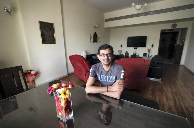 Dubai, United Arab Emirates - May 10, 2019: Karthik Jayakumar downsized his apartment to save money, moving just 20ft but saving 30% on his rent. Friday the 10th of May 2019. Karama, Dubai. Chris Whiteoak / The National