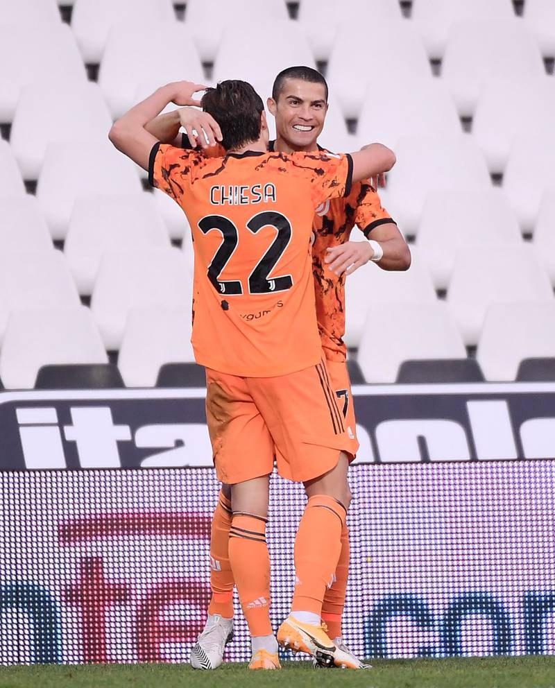 Mandatory Credit: Photo by CHINE NOUVELLE/SIPA/Shutterstock (10991709i)FC Juventus's Cristiano Ronaldo (R) celebrates his first goal during a Serie A football match between Spezia and FC Juventus in Cesena, Italy, Nov. 1, 2020.Italy Cesena Football Serie a Fc Juventus vs Spezia - 01 Nov 2020
