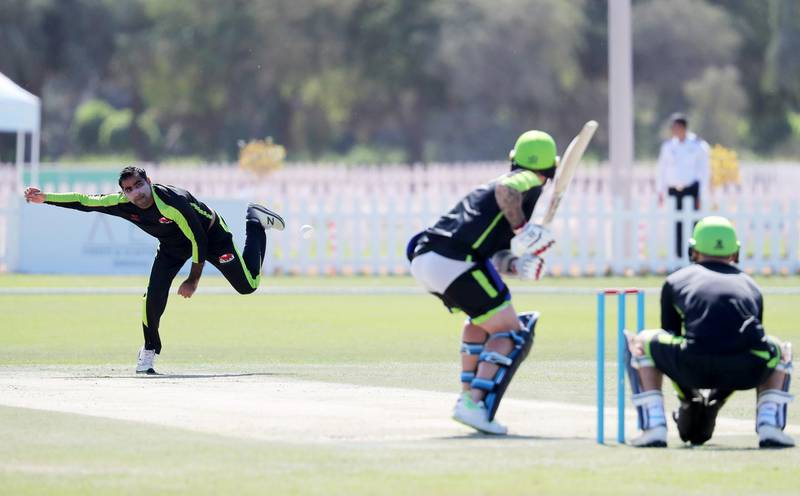 ABU DHABI, UNITED ARAB EMIRATES , Nov 13  – 2019 :- Sultan Ahmed of  Qalandars T10 cricket team bowling during the training session held at Sheikh Zayed Cricket Stadium in Abu Dhabi. ( Pawan Singh / The National )  For Sports. Story by Paul