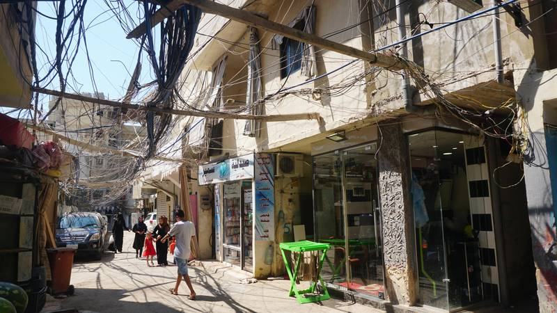 Electrical lines at Burj al Barajneh camp on August 23, 2019. Sunniva Rose / The National