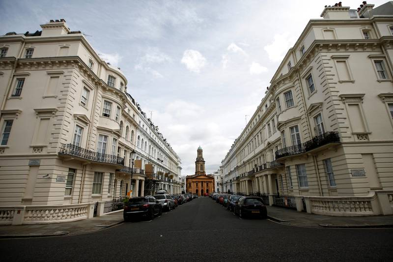 St Peter's Notting Hill church stands at the end of rows of luxury residential properties in the Kensington and Chelsea district of London, U.K., on Monday, Aug. 10, 2015. Buy-to-let loans have made up most of the growth in mortgage lending since 2008 as banks compete for borrowers, often by requiring that only the interest is paid each month. Photographer: Simon Dawson/Bloomberg