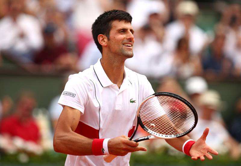PARIS, FRANCE - MAY 28:  Novak Djokovic of Serbia celebrates victory during the mens singles first round match against Rogerio Dutra Silva of Brazil during day two of the 2018 French Open at Roland Garros on May 28, 2018 in Paris, France.  (Photo by Clive Brunskill/Getty Images)