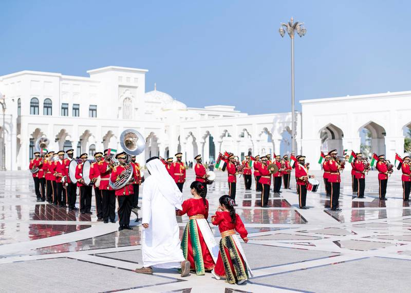 ABU DHABI, UNITED ARAB EMIRATES. 2 DECEMBER 2019. Abu Dhabi's Police band at UAE's National Day celebrations at Qasr Al Watan.(Photo: Reem Mohammed/The National)Reporter:Section: