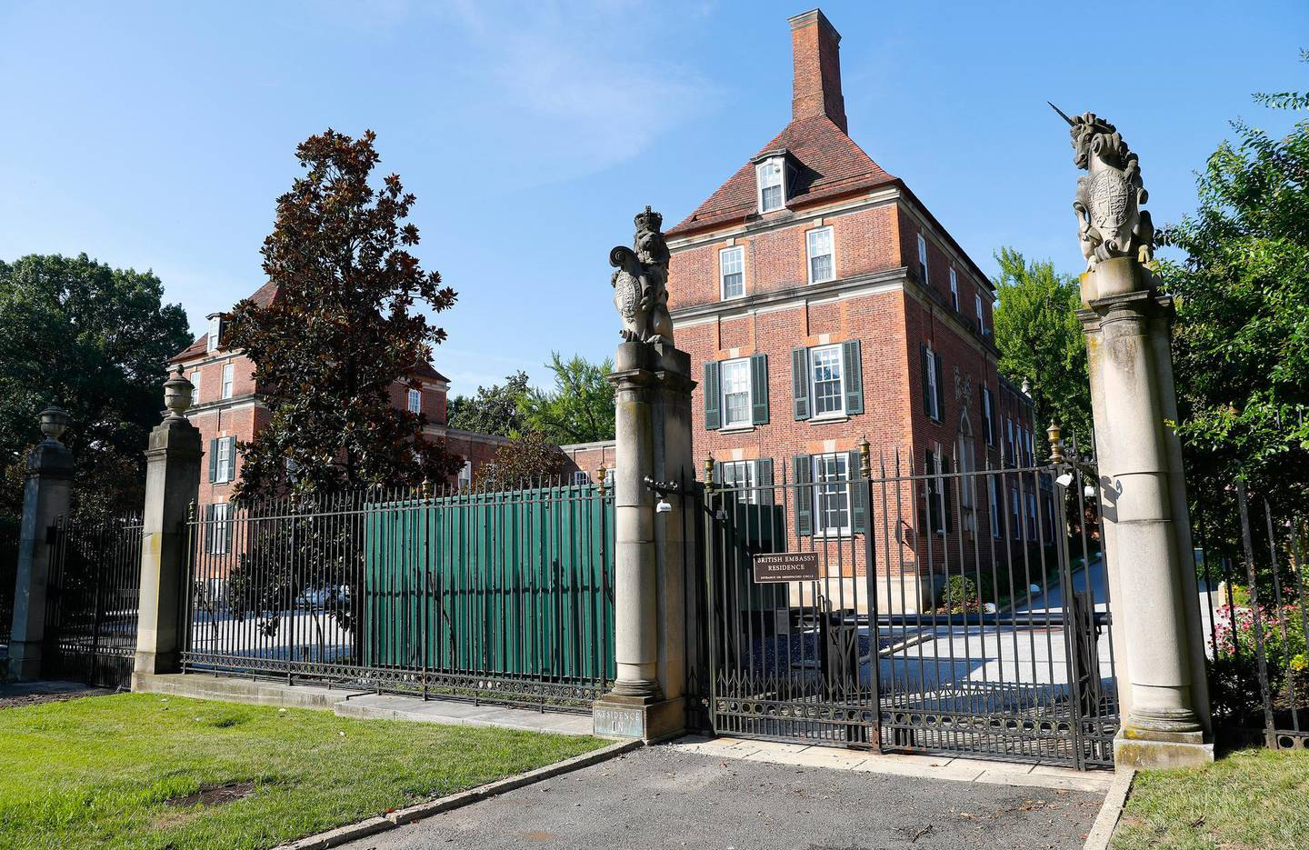 """The British Embassy Residence in Washington, Wednesday, July 10, 2019. British ambassador to the U.S., Kim Darroch, resigned Wednesday, just days after diplomatic cables criticizing President Donald Trump caused embarrassment to two countries that often celebrated having a """"special relationship"""". (AP Photo/Pablo Martinez Monsivais)"""