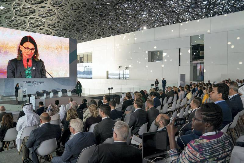 SAADIYAT ISLAND, ABU DHABI, UNITED ARAB EMIRATES - November 19, 2019: Birgit Pickel, Director, Federal Ministry for Economic Cooperation and Development in Germany (on stage L), delivers a speech during the Reaching the Last Mile Forum, at the Louvre Abu Dhabi.  ( Eissa Al Hammadi for the Ministry of Presidential Affairs ) ---