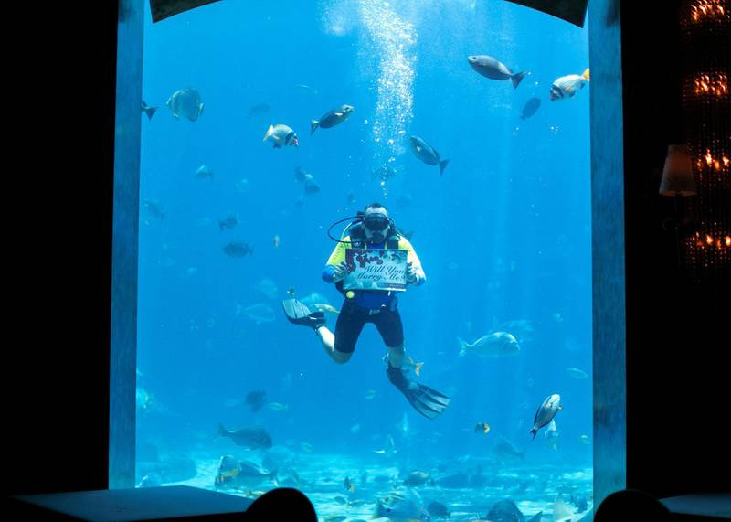 DUBAI, UNITED ARAB EMIRATES - JULY 16 2019.Abdulla Yaulin, Uzbek diver at Atlantis who proposes to dozens of women from underwater at Ossiano every year.(Photo by Reem Mohammed/The National)Reporter: Section: AC