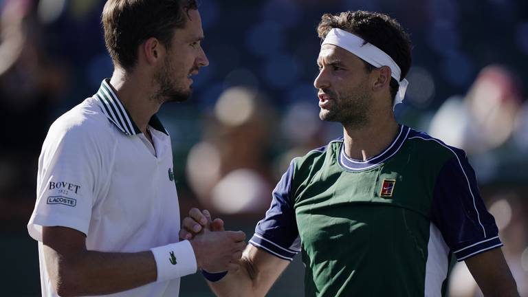 An image that illustrates this article Top seed Medvedev out as Azarenka advances at Indian Wells