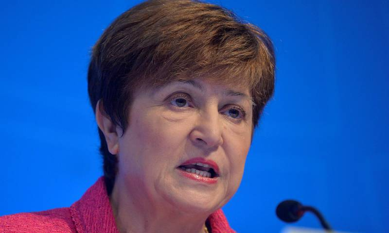 FILE PHOTO: International Monetary Fund (IMF) Managing Director Kristalina Georgieva makes remarks at an opening news conference during the IMF and World Bank's 2019 Annual Fall Meetings of finance ministers and bank governors, in Washington, U.S., October 17, 2019.   REUTERS/Mike Theiler/File Photo