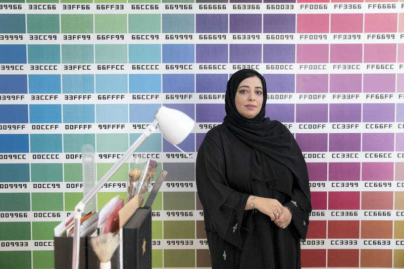FUJAIRAH, UNITED ARAB EMIRATES - DECEMBER 20, 2018. Kholoud Al Kendi, founder of Retaj Design, is a young Emirati entrepreneur who left her job as a banker to follow her passion in graphic ?designing.(Photo by Reem Mohammed/The National)Reporter: RUBA HAZASection:    NA