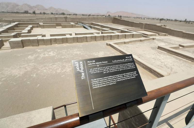 Sharjah, United Arab Emirates - July 10, 2019: Weekend's postcard section. The palace site at the Mleiha Archaeological Centre. Wednesday the 10th of July 2019. Maleha, Sharjah. Chris Whiteoak / The National