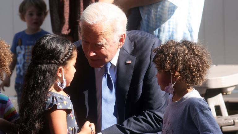 An image that illustrates this article Biden pushes childcare investing in stalled spending bill