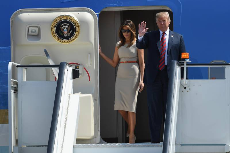 STANSTED, ESSEX - JULY 12:  U.S. President Donald Trump and First Lady Melania Trump arrive at Stansted Airport on July 12, 2018 in Essex, England. The President of the United States and First Lady, Melania Trump, touched down in the UK on Air Force One for their first official visit. Whilst they are here they will have dinner at Blenheim Palace, visit Prime Minister Theresa May at Chequers and take tea with the Queen at Windsor Castle.  (Photo by Leon Neal/Getty Images)