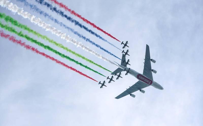 Abu Dhabi, United Arab Emirates - Eithad aerial display to celebrate the 47th annual National Day, December 2, 2018. (Khushnum Bhandari/ The National)