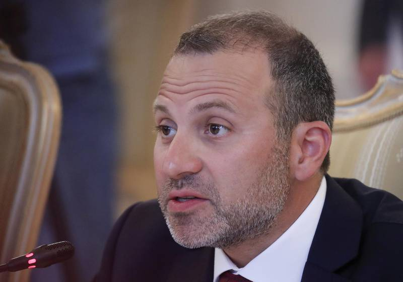 FILE PHOTO: Lebanese Foreign Minister Gebran Bassil speaks during a meeting with his Russian counterpart Sergei Lavrov in Moscow, Russia August 20, 2018. REUTERS/Maxim Shemetov/File Photo