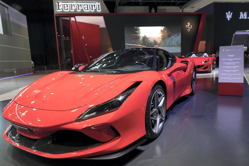 DUBAI, UNITED ARAB EMIRATES. 12 November 2019. Ferrari at the Dubai Motor Show opening day. (Photo: Antonie Robertson/The National) Journalist: Nic Webster. Section: National.