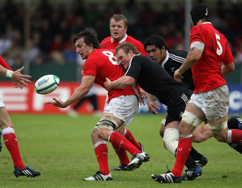 NEWPORT, UNITED KINGDOM - JUNE 18:  Sam Warburton of Wales releases the ball during the IRB Junior World championship semi final game between New Zealand and Wales at Rodney Parade, Newport.  (Photo by John Gichigi/Getty Images)