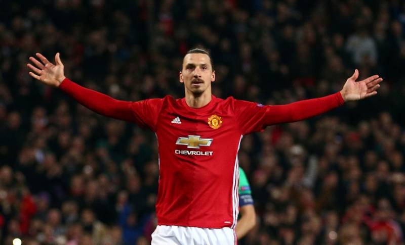 """FILE - In this file photo dated Thursday, Feb. 16, 2017, Manchester United's Zlatan Ibrahimovic celebrates after scoring during the Europa League round of 32 first leg soccer match between Manchester United and St.-Etienne at the Old Trafford stadium in Manchester, England. Zlatan Ibrahimovic is eyeing a chance to play at another World Cup even though the coach of Sweden's national team was convinced that the veteran striker had no desire to return. The 36-year-old Ibrahimovic retired from international soccer after the 2016 European Championship to focus on prolonging his club career. Ibrahimovic says """"the door hasn't been shut to anything."""" (AP Photo/Dave Thompson/File)"""