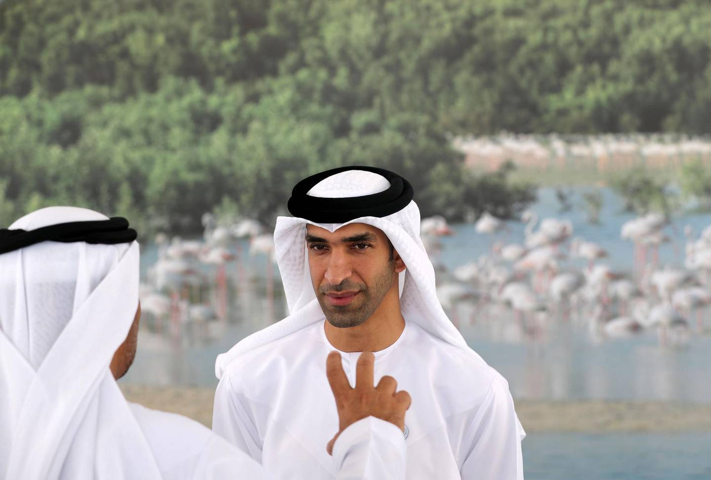 Ras Al Khaimah, United Arab Emirates - October 13, 2018: His Excellency Dr Thani bin Ahmed Al Zeyoudi, Minister of Climate Change and Environment Directors of municipalities and environment agencies in the UAE. The launch of the ecotourism microsite and app coincides with the National Ecotourism Project, a multiphased initiative that will position the UAE as a global ecotourism hub. Saturday, October 13th, 2018 in Al Rams, Ras Al Khaimah. Chris Whiteoak / The National