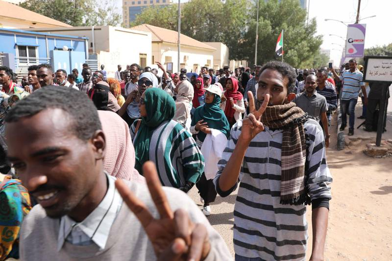 epa08211681 Sudanese protesters chant slogans during a demonstration in Khartoum, Sudan, 11 February 2020. According to media reports, people marched in Khartoum to urge the government to appoint civilian governors and form a transitional authority.  EPA/MARWAN ALI
