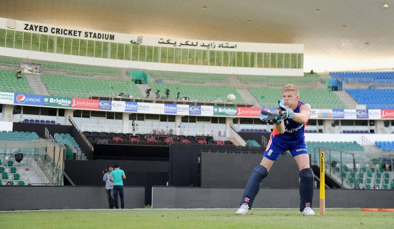 ABU DHABI, UNITED ARAB EMIRATES - NOVEMBER 10:  Sam Billings of England keeps wicket during a nets session at Zayed Cricket Stadium on November 10, 2015 in Abu Dhabi, United Arab Emirates.  (Photo by Gareth Copley/Getty Images)