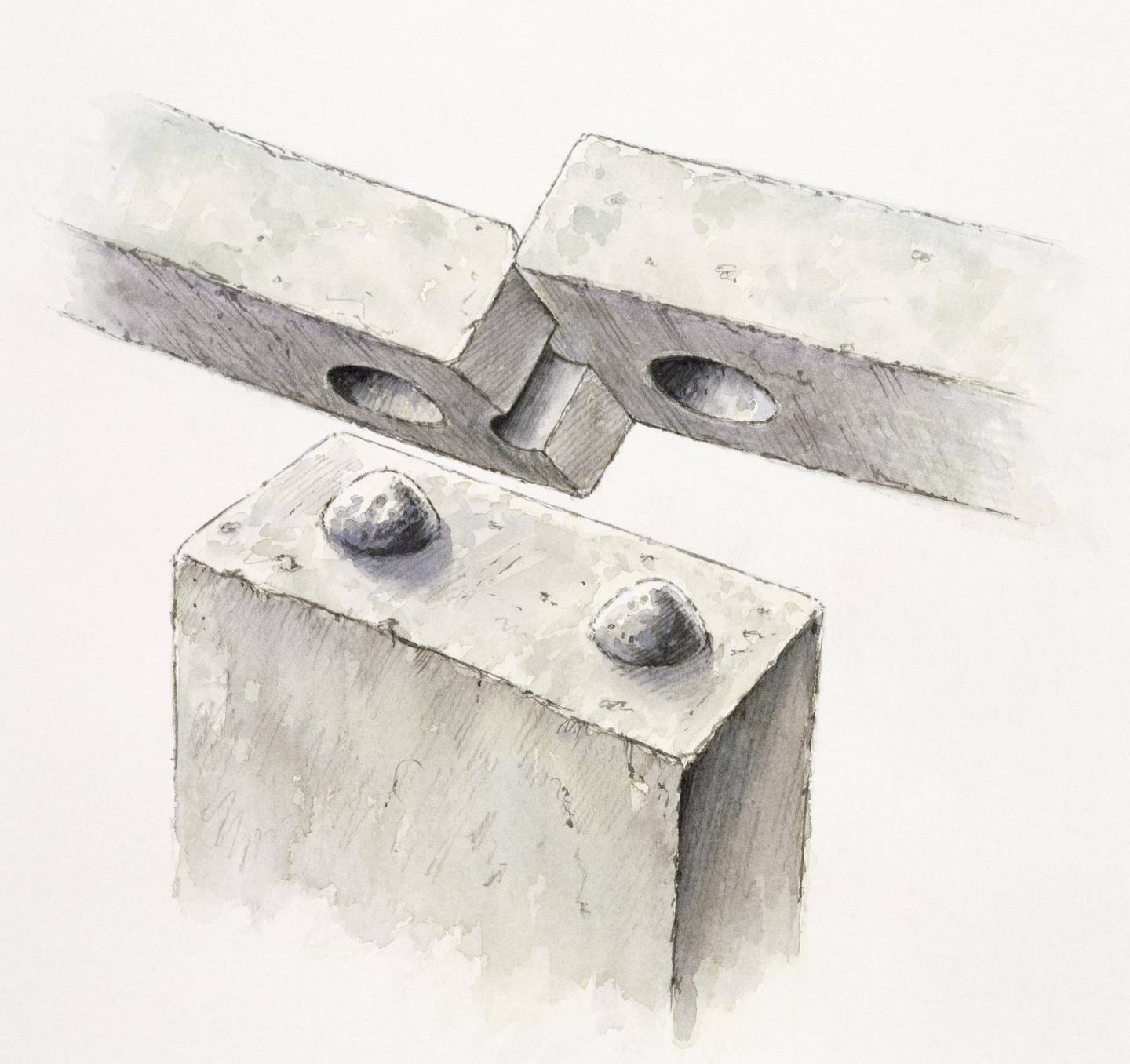 STONEHENGE  Reconstuction drawing by Peter DUNN showing tongue and groove and mortice and tenon joints used to link and secure lintels