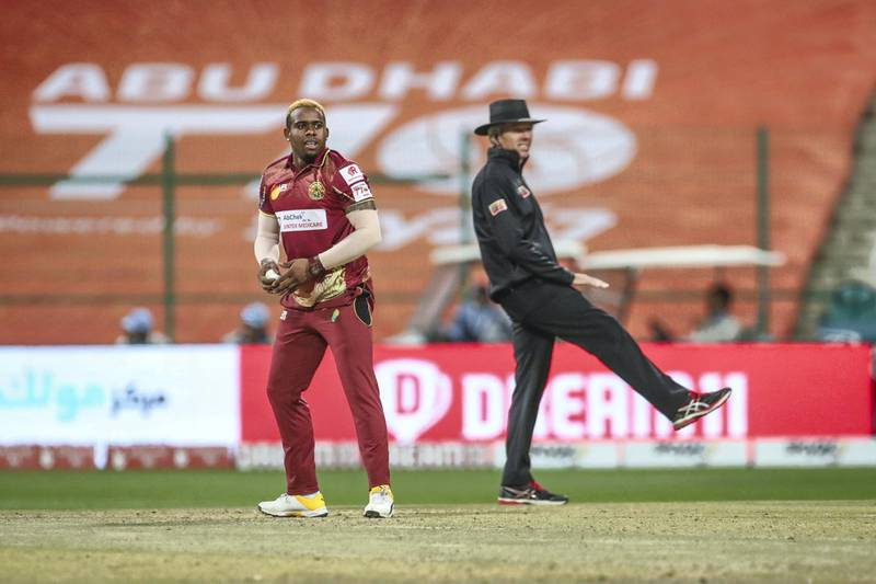 Fabian Allen. Delhi Bulls v Northern Warriors. Abu Dhabi T10 Season 4. The Final. Zayed Cricket Stadium, Abu Dhabi. 6th February 2021. Courtesy Abu Dhabi Cricket