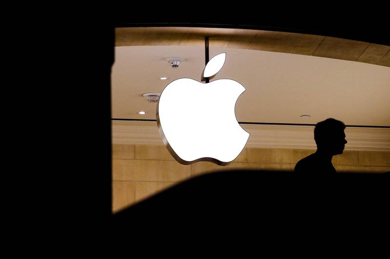 epa06923900 (FILE) - People walk past an Apple logo at an Apple store in New York, New York, USA, 01 August 2018 (issued 02 July 2018).  After positive earnings report, shares of Apple surged making it the first company in history to reach a market value of one trillion US dollars.  EPA/JUSTIN LANE