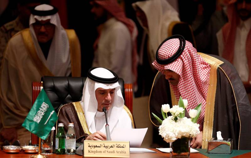 Saudi Foreign Minister Jubeir attends a meeting of foreign ministers of member states of Coalition to Support Legitimacy in Yemen, in Riyadh, Saudi Arabia, January 22, 2018. REUTERS/Faisal Al Nasser