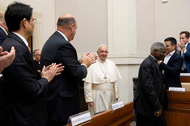 Pope Francis addresses energy representatives at the end of a two-day meeting at the Academy of Sciences, at the Vatican, June 14, 2019. Vatican Media/Handout via REUTERS   THIS IMAGE HAS BEEN SUPPLIED BY A THIRD PARTY.