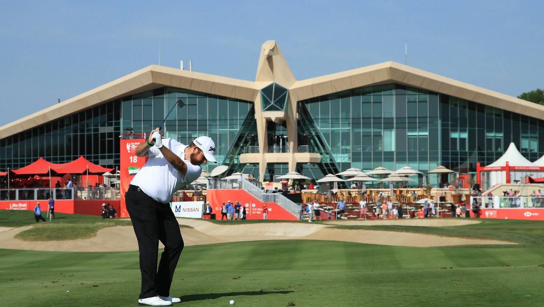 ABU DHABI, UNITED ARAB EMIRATES - JANUARY 17:  Shane Lowry of Ireland plays his second shot on the ninth hole during Day Two of the Abu Dhabi HSBC Golf Championship at Abu Dhabi Golf Club on January 17, 2019 in Abu Dhabi, United Arab Emirates. (Photo by Andrew Redington/Getty Images)