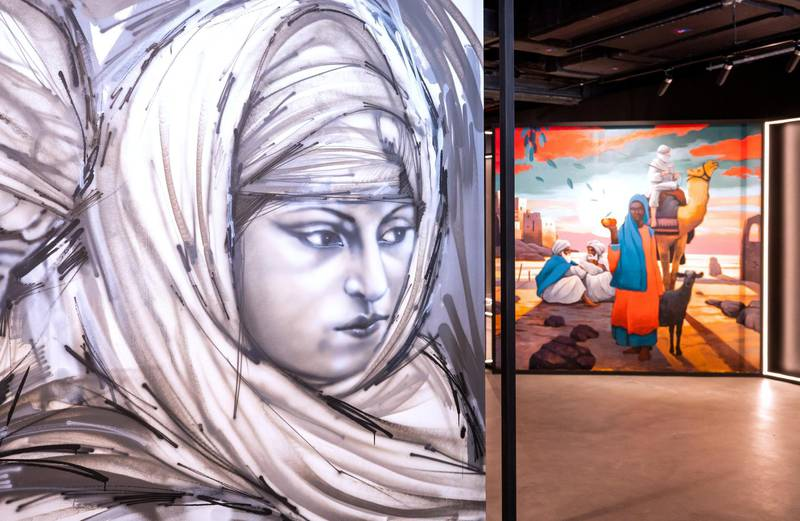Abu Dhabi, United Arab Emirates, April 4, 2021.   A preview or first look at three new exhibitions at the Cultural Foundation. Murals of History.  The Arabian movement through the eyes of the artists exhibition.Victor Besa/The NationalSection:  ACReporter:  Alexandra Chaves