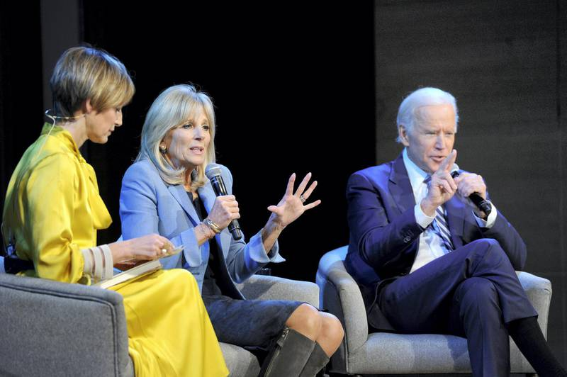 NEW YORK, NY - NOVEMBER 13: (L-R) Cindi Leive, Dr. Jill Biden, and Joe Biden speak onstage during Glamour Celebrates 2017 Women Of The Year Live Summit at Brooklyn Museum on November 13, 2017 in New York City.   Craig Barritt/Getty Images for Glamour/AFP