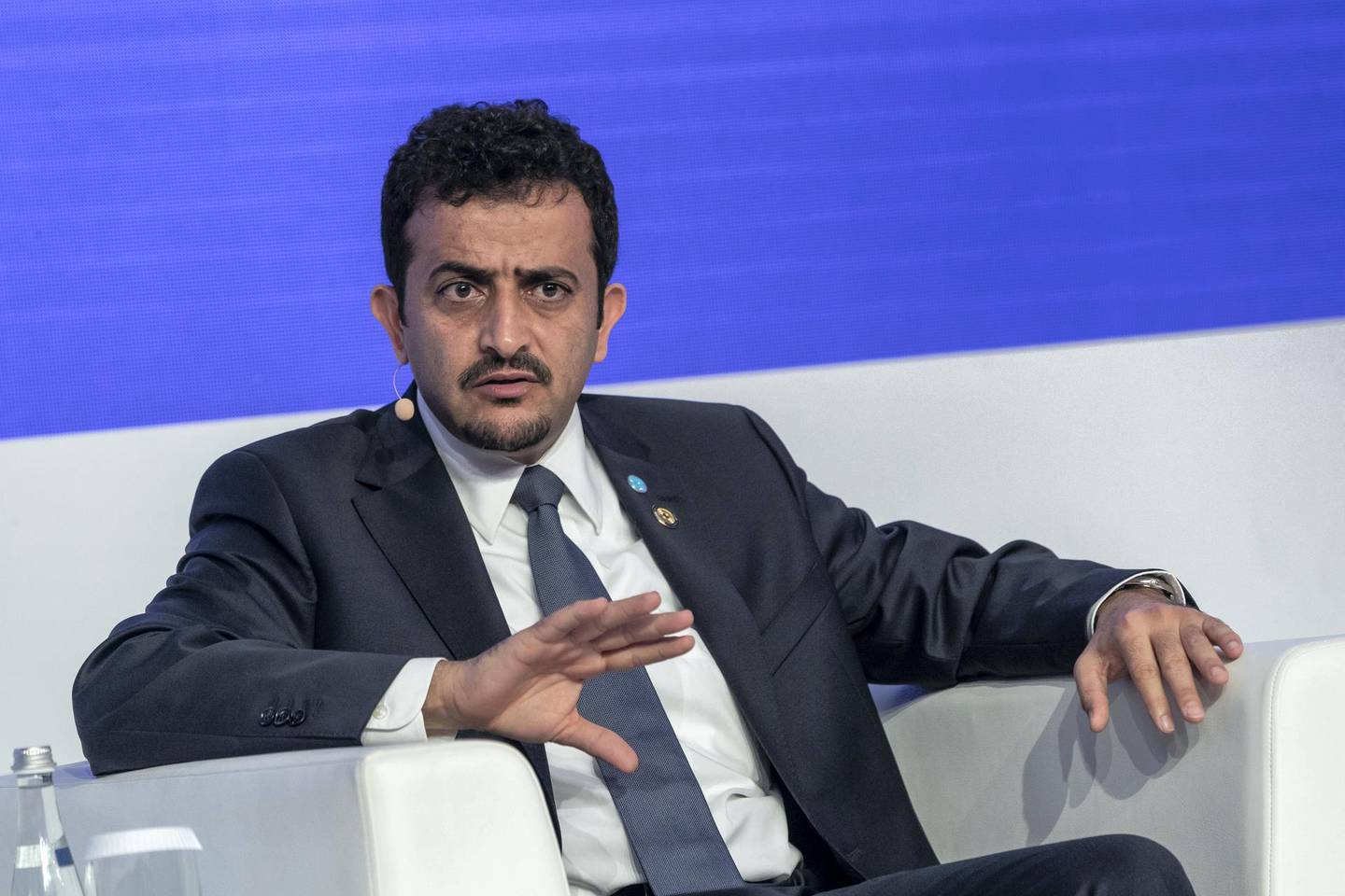 ABU DHABI, UNITED ARAB EMIRATES. 13 November 2019. The third day of ADIPEC at ADNOC. Opec's 2019 World Oil Outlook  Ayed Al Qahtani, Research Division Director, Opec. (Photo: Antonie Robertson/The National) Journalist: None. Section: National.
