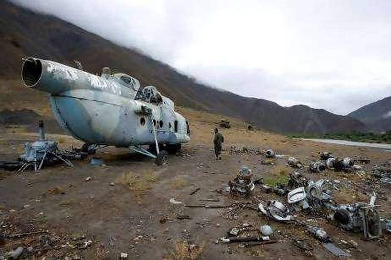 HELICOPTERA helicopter used by the mujahdieen commander Ahmad Shah Massoud lies in ruins in Panjshir province, north of Kabul.Chris Sands/The National
