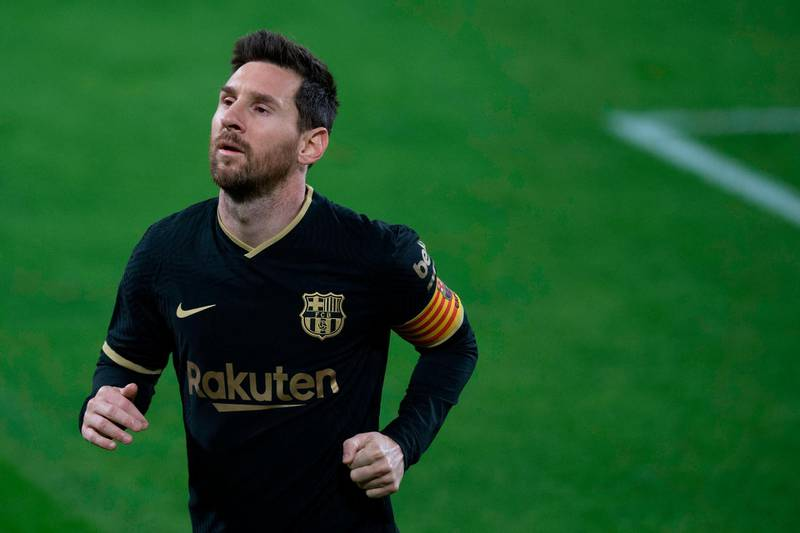 Barcelona's Argentinian forward Lionel Messi reacts during the Spanish League football match between Cadiz and Barcelona at the Ramon de Carranza stadium in Cadiz on December 5, 2020. / AFP / JORGE GUERRERO