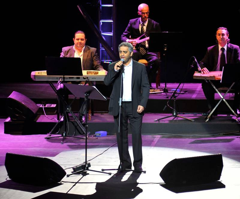 Fadel Shaker performing at the Emirates Palace Hotel as the last concert for the Abu Dhabi Festival 2012 in Abu Dhabi, United Arab Emirates on Friday, April 6, 2012. Photo: Charles Crowell for The National