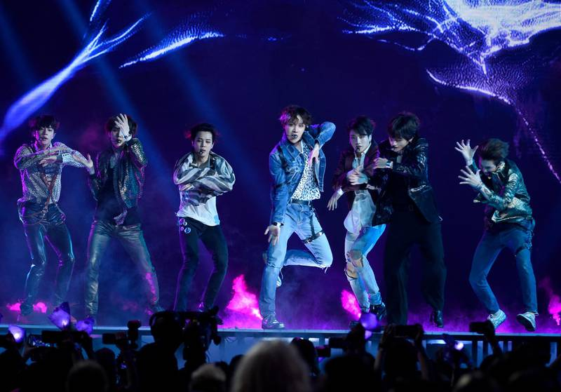 """BTS performs """"Fake Love"""" at the Billboard Music Awards at the MGM Grand Garden Arena on Sunday, May 20, 2018, in Las Vegas. (Photo by Chris Pizzello/Invision/AP)"""