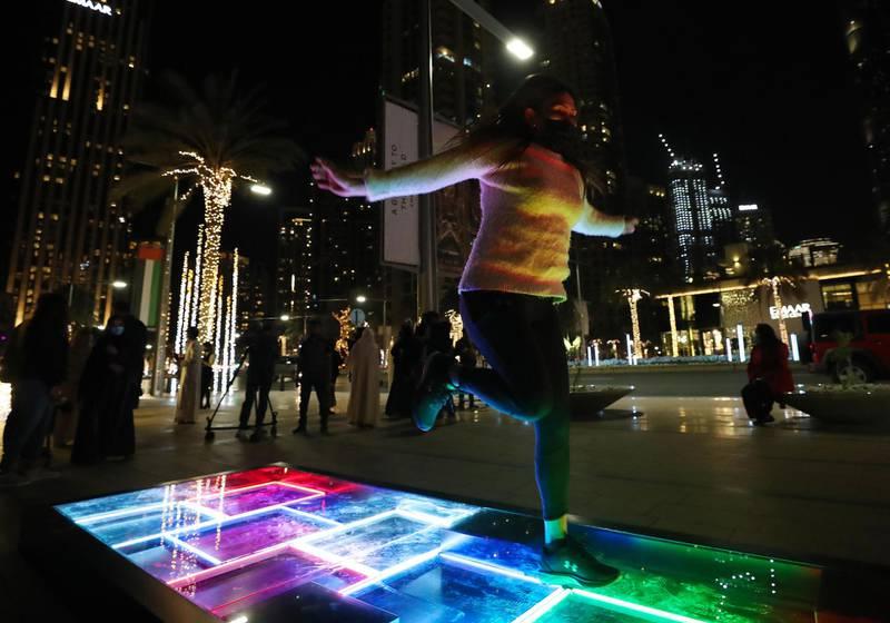 Dubai, United Arab Emirates - Reporter: N/A. News. Art. Al Hai, a series of enthralling light installations adorning Downtown Dubai Boulevard. This piece is called Al Saha. Dubai. Thursday, January 5th, 2021. Chris Whiteoak / The National